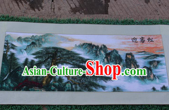 Traditional Chinese Miao Nationality Minority Crafts Hmong Xiangxi Embroidery Decorative Paintings, Embroidery Greeting Pine Scroll Painting for Friends