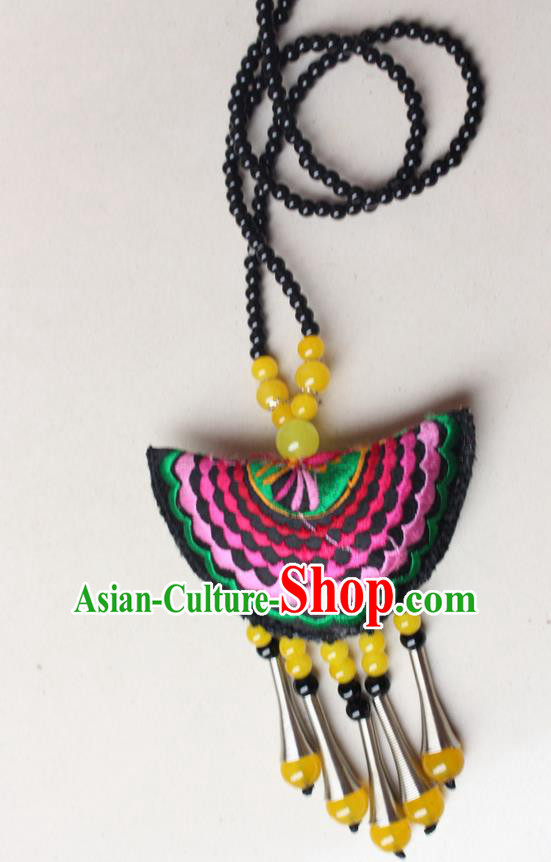 Traditional Chinese Miao Nationality Crafts Jewelry Accessory, Hmong Handmade Yellow Beads Tassel Double Side Embroidery Fan Pendant, Miao Ethnic Minority Necklace Accessories Sweater Chain Pendant for Women