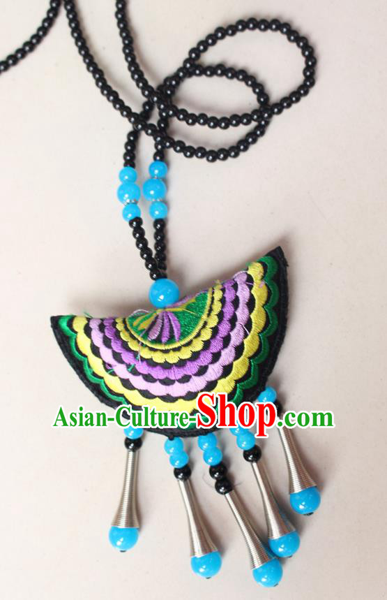 Traditional Chinese Miao Nationality Crafts Jewelry Accessory, Hmong Handmade Blue Beads Tassel Double Side Embroidery Fan Pendant, Miao Ethnic Minority Necklace Accessories Sweater Chain Pendant for Women