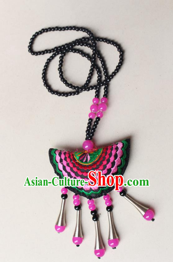 Traditional Chinese Miao Nationality Crafts Jewelry Accessory, Hmong Handmade Pink Beads Tassel Double Side Embroidery Fan Pendant, Miao Ethnic Minority Necklace Accessories Sweater Chain Pendant for Women