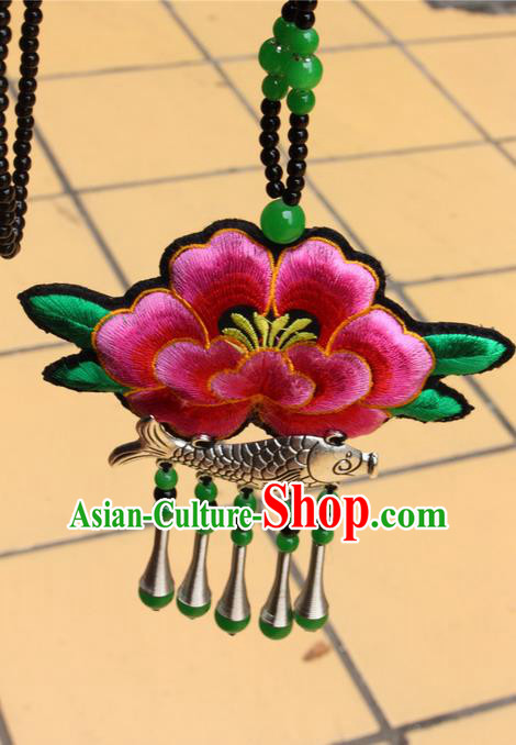 Traditional Chinese Miao Nationality Crafts Jewelry Accessory, Hmong Handmade Miao Silver Fish Beads Tassel Embroidery Flowers Pendant, Miao Ethnic Minority Necklace Accessories Sweater Chain Pendant for Women