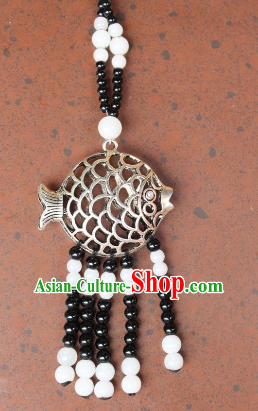 Traditional Chinese Miao Nationality Crafts Jewelry Accessory, Hmong Handmade Miao Silver Fish Beads Tassel Pendant, Miao Ethnic Minority Necklace Accessories Sweater Chain Pendant for Women