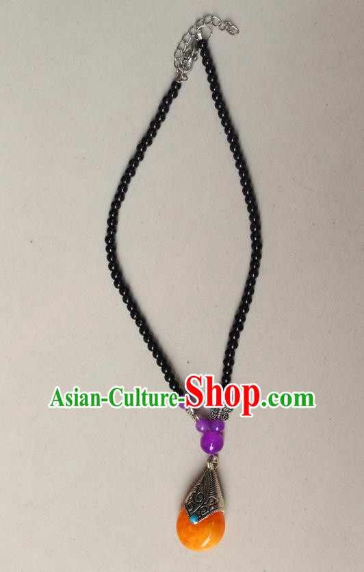 Traditional Chinese Miao Nationality Crafts Jewelry Accessory, Hmong Handmade Palace Beads Pendant, Miao Ethnic Minority Necklace Accessories Sweater Chain Pendant for Women