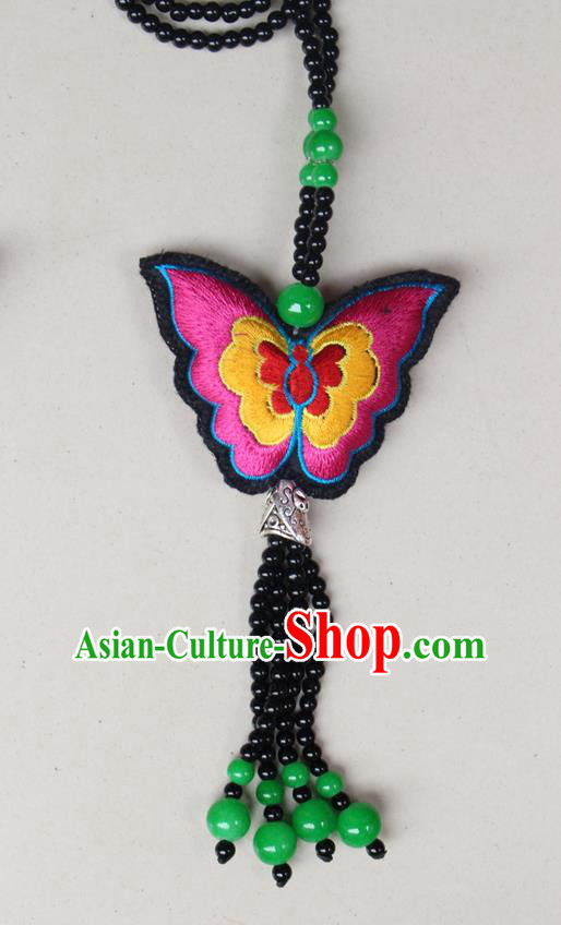 Traditional Chinese Miao Nationality Crafts Jewelry Accessory, Hmong Handmade Black Beads Tassel Double Side Embroidery Butterfly Pendant, Miao Ethnic Minority Necklace Accessories Sweater Chain Pendant for Women