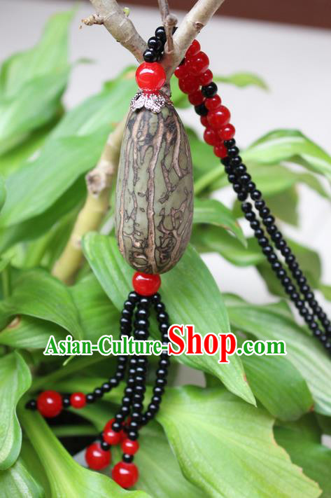 Traditional Chinese Miao Nationality Crafts Jewelry Accessory, Hmong Handmade Black Beads Bodhi Seed Tassel Pendant, Miao Ethnic Minority Necklace Accessories Sweater Chain Pendant for Women