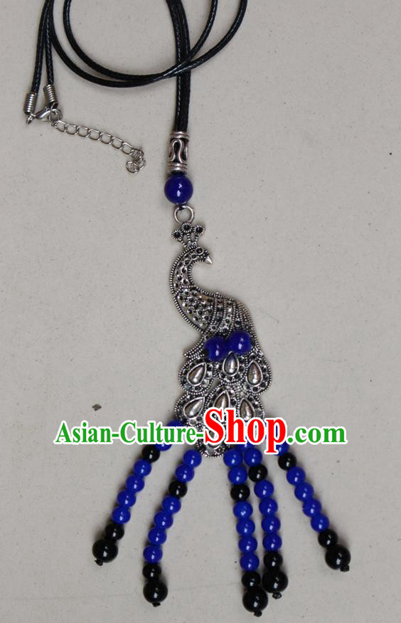 Traditional Chinese Miao Nationality Crafts Jewelry Accessory, Hmong Handmade Miao Silver Peacock Beads Tassel Pendant, Miao Ethnic Minority Black Rope Necklace Accessories Sweater Chain Pendant for Women