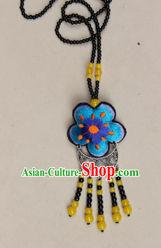 Traditional Chinese Miao Nationality Crafts Jewelry Accessory, Hmong Handmade Black Beads Miao Silver Tassel Double Side Embroidery Flowers Pendant, Miao Ethnic Minority Necklace Accessories Sweater Chain Pendant for Women