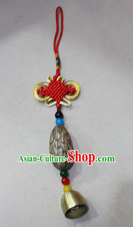 Traditional Chinese Miao Nationality Crafts Jewelry Accessory, Hmong Handmade Copper Bell Tassel Red Chinese Knot Bodhi Seed Pendant, Miao Ethnic Minority Haven Evil Bell Car Accessories Pendant