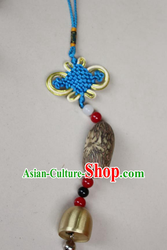 Traditional Chinese Miao Nationality Crafts Jewelry Accessory, Hmong Handmade Copper Bell Tassel Blue Chinese Knot Bodhi Seed Pendant, Miao Ethnic Minority Haven Evil Bell Car Accessories Pendant