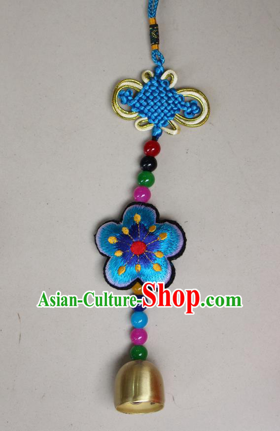 Traditional Chinese Miao Nationality Crafts Jewelry Accessory, Hmong Handmade Copper Bell Tassel Chinese Knot Embroidery Blue Flowers Pendant, Miao Ethnic Minority Haven Evil Bell Car Accessories Pendant