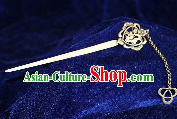 Traditional Chinese Miao Nationality Crafts Jewelry Accessory Hair Accessories, Hmong Handmade Miao Silver Palace Dragon Tassel Hair Sticks Hair Claw, Miao Ethnic Minority Hair Fascinators Hairpins for Women
