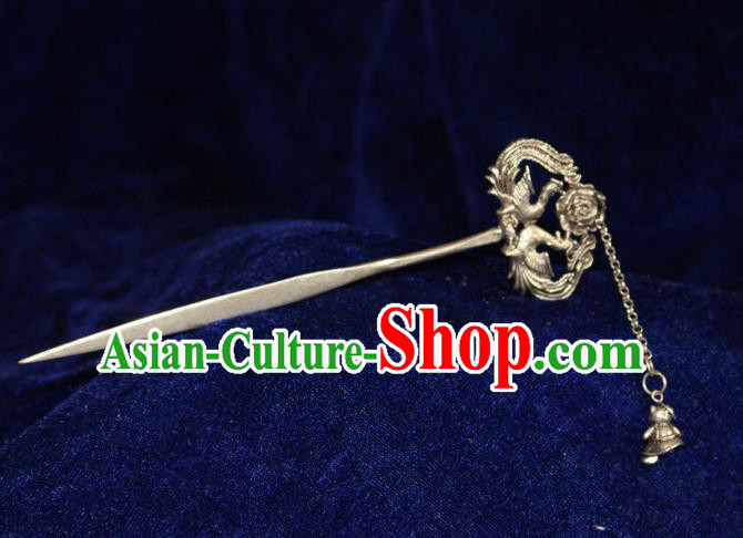 Traditional Chinese Miao Nationality Crafts Jewelry Accessory Hair Accessories, Hmong Handmade Miao Silver Palace Phoenix Tassel Hair Sticks Hair Claw, Miao Ethnic Minority Hair Fascinators Hairpins for Women