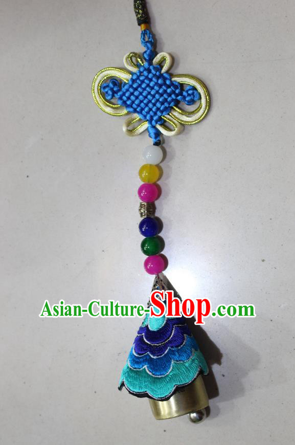 Traditional Chinese Miao Nationality Crafts Jewelry Accessory, Hmong Handmade Copper Bell Tassel Chinese Knot Embroidery Pendant, Miao Ethnic Minority Haven Evil Bell Car Accessories Pendant