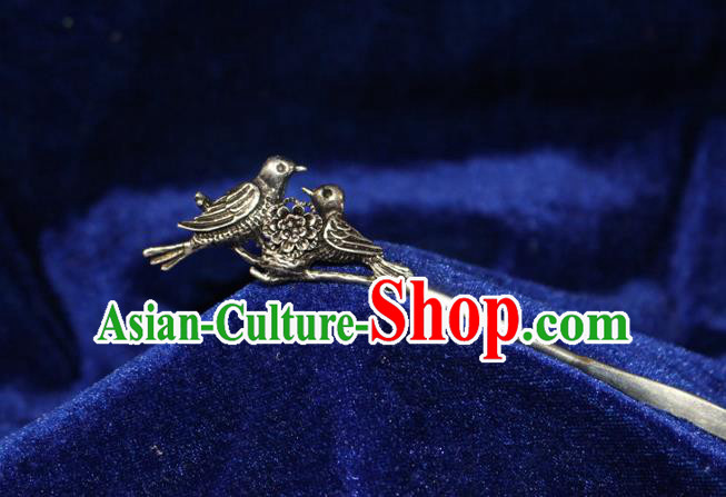 Traditional Chinese Miao Nationality Crafts Jewelry Accessory Classical Hair Accessories, Hmong Handmade Miao Silver Birds Palace Lady Hair Sticks Hair Claw, Miao Ethnic Minority Hair Fascinators Hairpins for Women