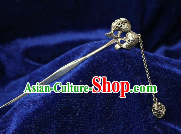Traditional Chinese Miao Nationality Crafts Jewelry Accessory Classical Hair Accessories, Hmong Handmade Miao Silver Fish Palace Lady Tassel Hair Sticks Hair Claw, Miao Ethnic Minority Hair Fascinators Hairpins for Women