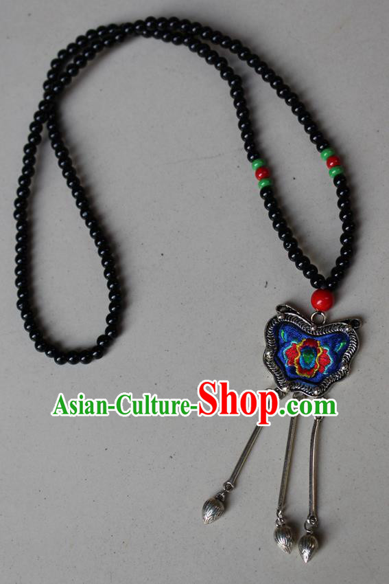 Traditional Chinese Miao Nationality Crafts Jewelry Accessory, Hmong Handmade Miao Silver Beads Tassel Embroidery Flowers Pendant, Miao Ethnic Minority Bells Necklace Accessories Sweater Chain Pendant for Women