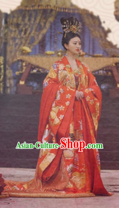 Traditional Ancient Chinese Imperial Empress Wedding Costume, Elegant Hanfu Palace Lady Queen Red Dress, Chinese Tang Dynasty Imperial Empress Tailing Embroidered Phoenix Clothing for Women