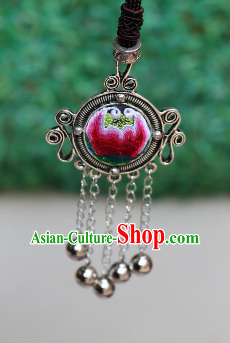 Traditional Chinese Miao Nationality Crafts Jewelry Accessory, Hmong Handmade Miao Silver Bells Tassel Embroidery Flowers Round Pendant, Miao Ethnic Minority Bells Necklace Accessories Sweater Chain Pendant for Women