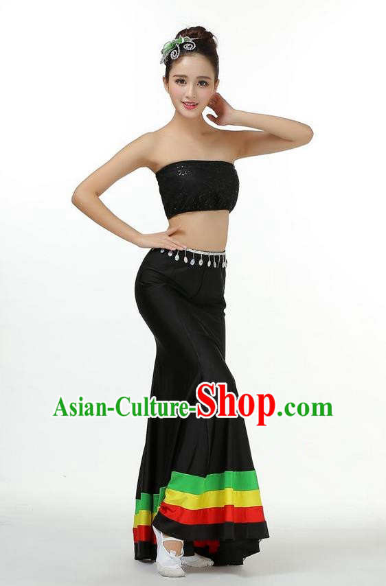 Traditional Chinese Dai Nationality Peacock Dancing Costume, Folk Dance Ethnic Fishtail Dress Palace Princess Uniform, Chinese Minority Nationality Dancing Black Clothing for Women