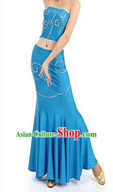 Traditional Chinese Dai Nationality Peacock Dancing Costume, Folk Dance Ethnic Paillette Fishtail Dress Palace Princess Uniform, Chinese Minority Nationality Dancing Blue Clothing for Women