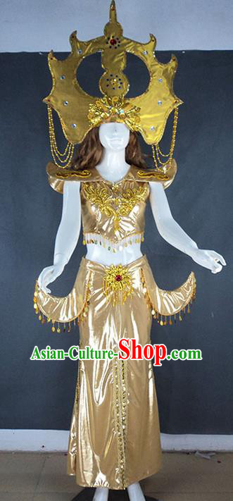 Traditional Chinese Dai Nationality Dancing Costume, Folk Dance Ethnic Thailand Dress Palace Princess Uniform, Chinese Thailand Dancing Clothing for Women