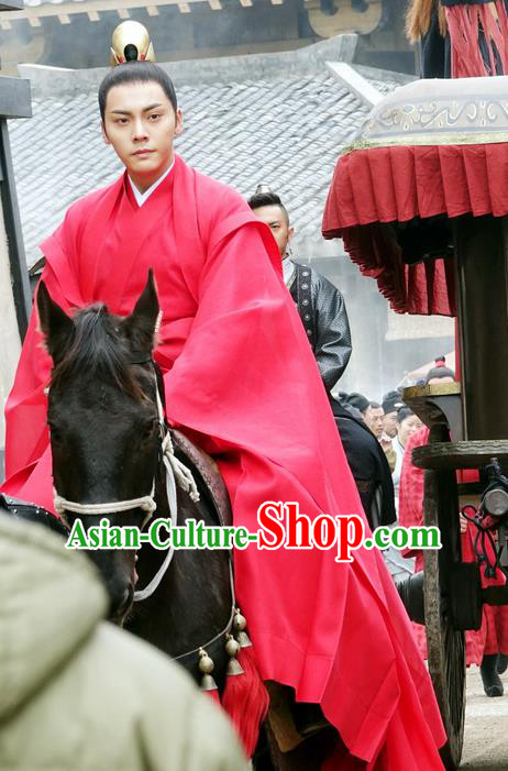 Traditional Ancient Chinese Nobility Childe Wedding Costume, Elegant Hanfu Western Wei Dynasty Imperial Prince Red Clothing, Chinese Northern Dynasties Swordsman Clothing for Men