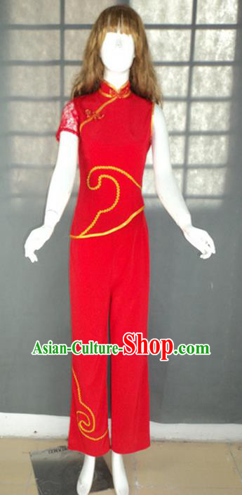 Traditional Chinese Yangge Fan Dancing Costume, Folk Dance Yangko Short Sleeve Uniforms, Classic Umbrella Dance Elegant Dress Drum Dance Red Clothing for Women