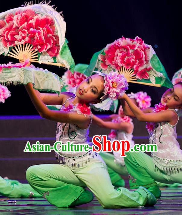 Traditional Chinese Yangge Fan Dancing Costume, Folk Dance Yangko Uniforms, Classic Lotus Dance Elegant Dress Drum Dance Clothing for Kids