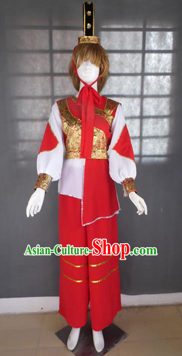 Traditional Chinese Yangge Fan Dancing Costume, Folk Dance Yangko Uniforms, Classic Hua Mulan General Dance Elegant Dress Drum Dance Clothing for Women