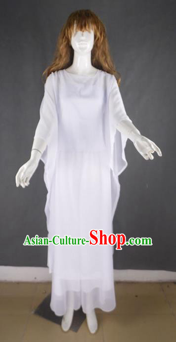 Traditional Modern Dancing Compere Costume, Women Opening Classic Chorus Singing Group Dance Dress, Modern Dance Classic Ballet Dance White Big Swing Dress for Women