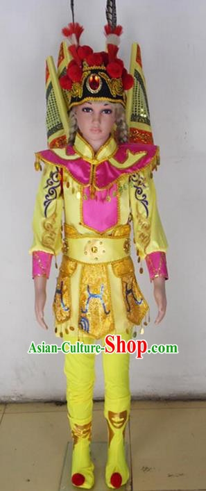 Traditional Chinese Peking Opera KnifeHorseDawn Costume and Hat Complete Set, Chinese Swordsman Children Uniforms, Classic Dance Elegant Dress Drum Dance Yellow Clothing for Kids