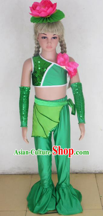 Traditional Chinese Yangge Fan Dancing Costume, Children Folk Dance Yangko Uniforms, Classic Lotus Dance Elegant Dress Drum Dance Clothing for Kids