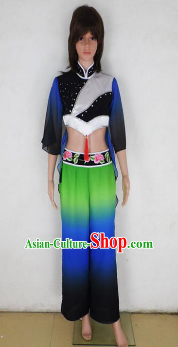 Traditional Chinese Yangge Fan Dancing Costume, Children Folk Dance Yangko Uniforms, Classic Lotus Dance Elegant Dress Drum Dance Blue Clothing for Kids