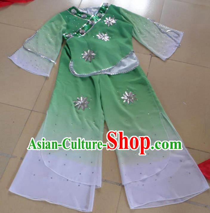 Traditional Chinese Yangge Fan Dancing Costume, Children Folk Dance Yangko Blouse and Pants Uniforms, Classic Lotus Dance Elegant Dress Drum Dance Green Clothing for Kids