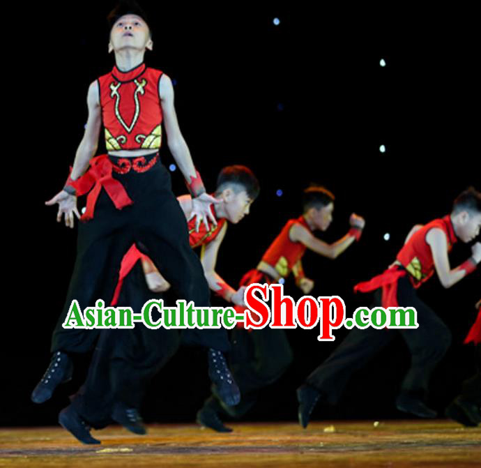 Traditional Chinese Yangge Fan Dancing Costume, Children Folk Dance Yangko Uniforms, Classic Umbrella Dance Elegant Drum Dance Clothing for Kids