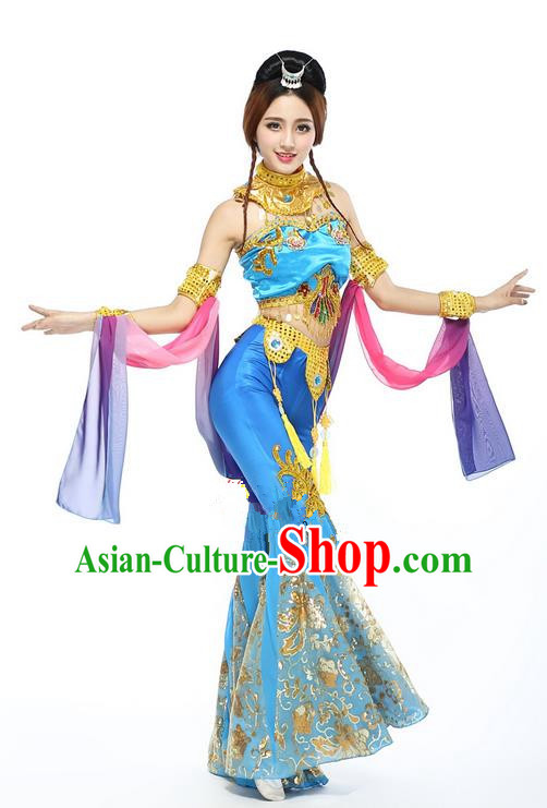 Traditional Chinese Ancient Yangge Fan Dancing Costume, Folk Dance Water Sleeve Uniforms, Classic Tang Dynasty Flying Dance Elegant Fairy Dress Drum Palace Dance Blue Embroidered Clothing for Women