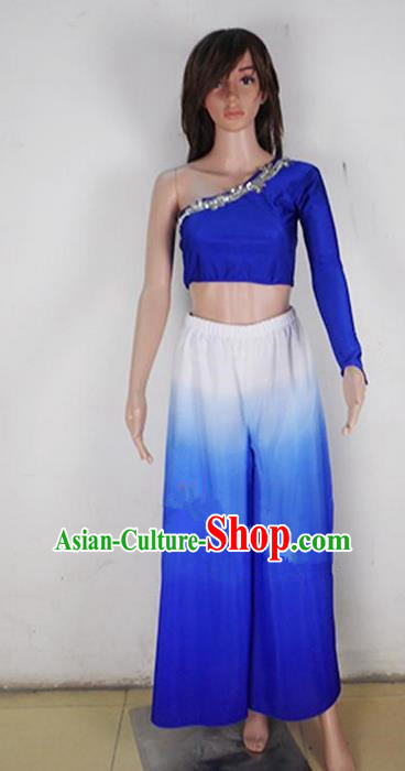 Traditional Modern Dancing Costume, Female Opening Classic Chorus Singing Group Dance Blue Dress Performance Dancewear, Modern Dance Dress Classic Latin Dance Elegant Clothing for Women