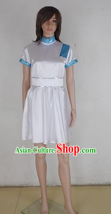 Traditional Modern Dancing Costume, Female Opening Classic Chorus Singing Group Dance Blue Dress Performance Nurse Dancewear, Modern Dance Dress Classic Latin Dance Elegant Clothing for Women