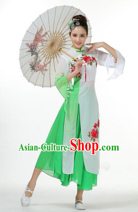 Traditional Chinese Yangge Fan Dancing Costume, Folk Dance Yangko Mandarin Sleeve Dress and Pants Peony Uniforms, Classic Umbrella Dance Elegant Dress Drum Dance Green Clothing for Women