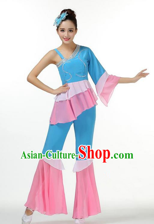 Traditional Chinese Yangge Fan Dancing Costume, Folk Dance Yangko Mandarin Sleeve Dress and Pants Paillette Peony Uniforms, Classic Umbrella Dance Elegant Dress Drum Dance Green Clothing for Women