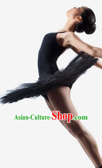 Traditional Modern Dancing Costume, Women Opening Classic Dance Chorus Singing Group Tutu Dance Performance Dress, Modern Dance Classic Ballet Dance Black Veil Bubble Dress for Women