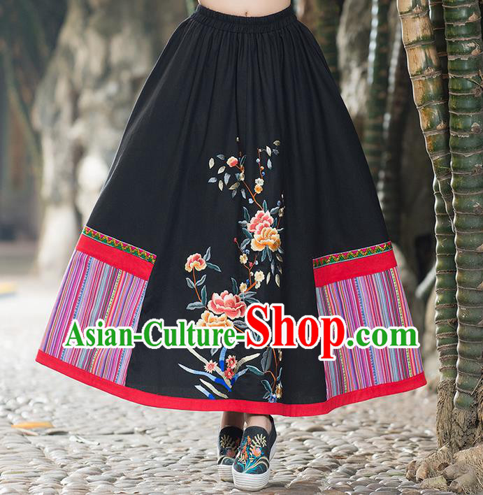 Traditional Ancient Chinese Tangsuit Skirt Costume, Elegant Hanfu Dress, China National Tang Suit Embroidered Black Bust Skirt for Women