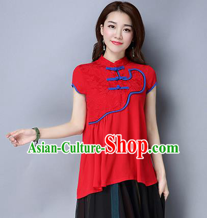 Traditional Ancient Chinese National Costume, Elegant Hanfu Shirt, China Tang Suit Mandarin Collar Red Blouse Cheongsam Upper Outer Garment Clothing for Women