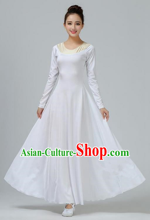 Traditional Modern Dancing Costume, Opening Classic Chorus Singing Group Dance White Long Dress, Modern Dance Classic Ballet Dance Latin Dance Dress for Women