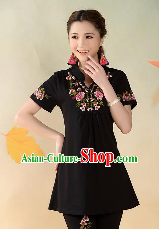 Traditional Ancient Chinese National Costume, Elegant Hanfu T-Shirt, China Tang Suit Mandarin Collar Black Blouse Cheongsam Upper Outer Garment Clothing for Women