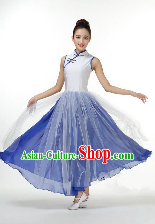 Traditional Modern Dancing Costume, Opening Classic Chorus Singing Group Dance Big Swing Blue Long Cheongsam Dress, Modern Dance Classic Ballet Dance Latin Dance Dress for Women