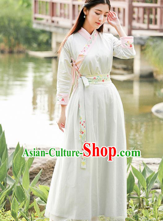 Traditional Ancient Chinese Ancient Costume, Elegant Hanfu Clothing Embroidered Dress, China Ming Dynasty Elegant Blouse and Dress Complete Set for Women