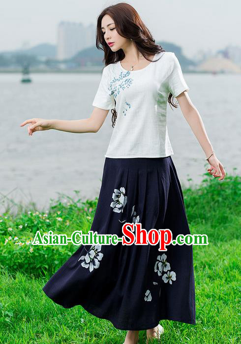 Traditional Ancient Chinese National Skirt Costume, Elegant Hanfu Painting Peony Long Dress, China Tang Suit Cotton Black Bust Skirt for Women