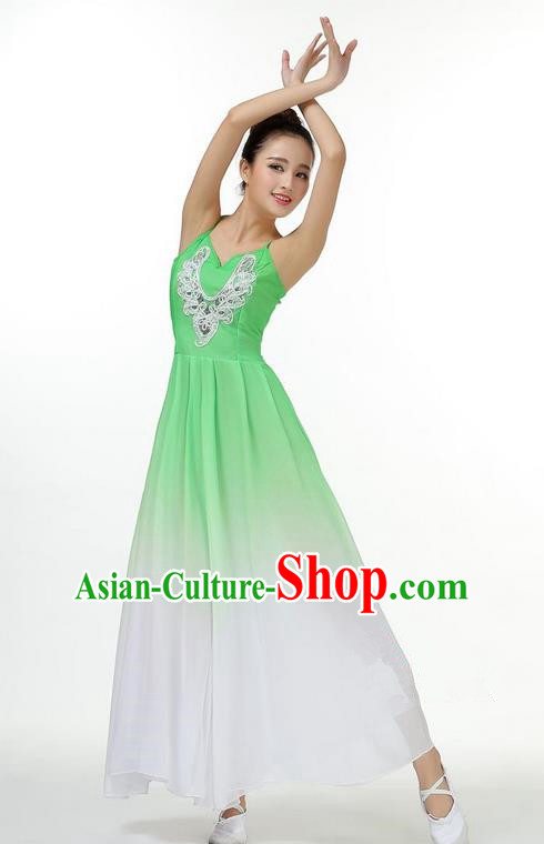 Traditional Modern Dancing Costume, Opening Classic Chorus Singing Group Dance Big Swing Green Dress, Modern Dance Classic Ballet Dance Latin Dance Dress for Women