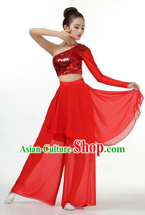 Traditional Chinese Yangge Fan Dancing Costume, Folk Dance Yangko Dress and Pants Paillette Single Shoulder Uniforms, Classic Umbrella Lotus Dance Elegant Dress Drum Dance Red Clothing for Women